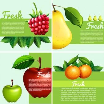 Dessin infographique avec des fruits frais