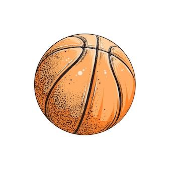 Dessin isolé de ballon de basket en couleur.