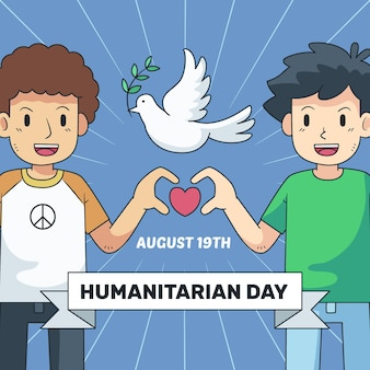 Dessin de la journée mondiale de l'aide humanitaire