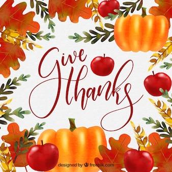 Dessin de lettrage de thanksgiving dessinés à la main