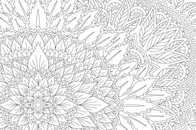Dessin linéaire pour cahier de coloriage adulte avec feuilles