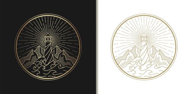 Dessin de logo de phare, paysage marin, vague et montagne