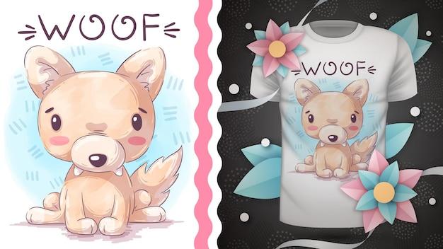 Dessin de loup animal de personnage de dessin animé enfantin han