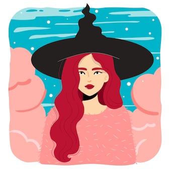 Dessin lumineux et coloré d'une fille de sorcière