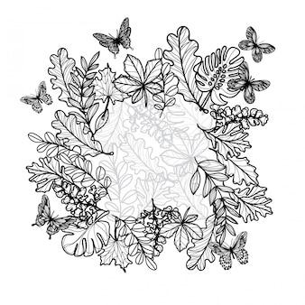 Dessin à la main art tatouage et croquis cadre floral noir et blanc