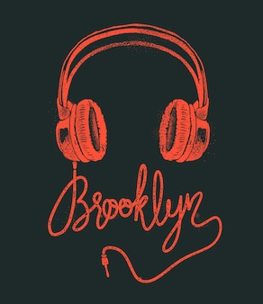 Dessin à la main de brooklyn casque