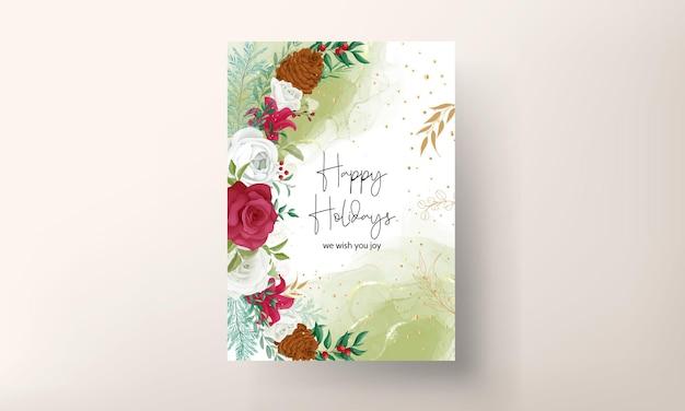 Dessin à la main carte de noël belles feuilles florales et de verdure