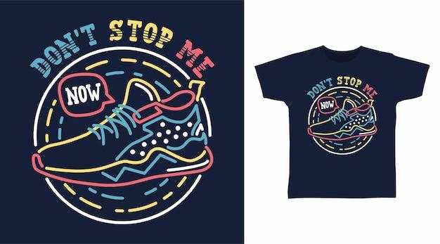 Dessin à la main de la chaussure avec un design de t-shirt aux couleurs néon