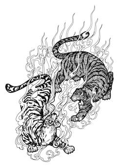 Dessin de main de combat de tigre d'art de tatouage et croquis noir et blanc