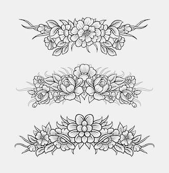 Dessin de main de décoration florale