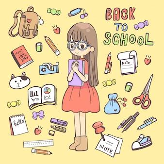 Dessin à main doodles école de caractère