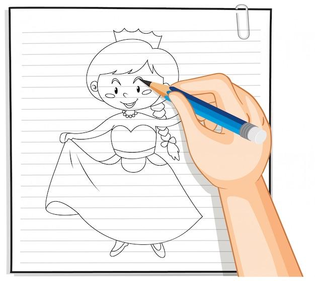 Dessin à la main du contour de dessin animé de princesse