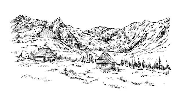 Dessin à la main du paysage montagne et maison