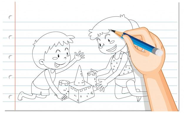 Dessin à la main des enfants construisant un château de sable