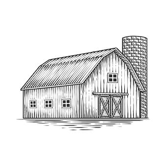 Dessin à la main de fil de grange