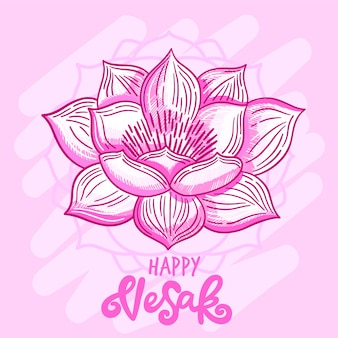 Dessin à la main happy vesak day