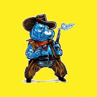 Dessin à la main hippo cowboy logo mascotte