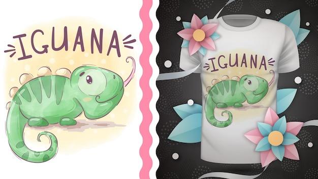 Dessin à la main d'iguane animal de personnage de dessin animé enfantin