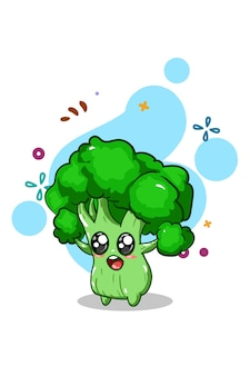 Dessin à la main illustration de brocoli mignon