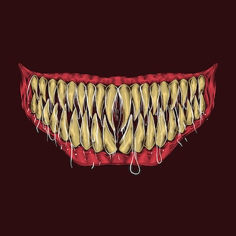 Dessin à la main illustration de dents de monstre vintage