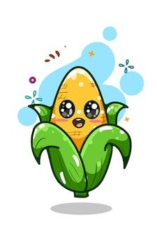 Un dessin à la main illustration de maïs mignon