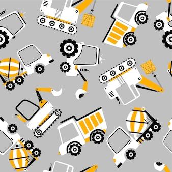 Dessin à la main illustration vectorielle continue de camion de construction pour la conception de tshirt