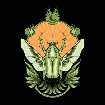 Dessin à la main d'un insecte coléoptère avec ornement de croissant de lune et insectes