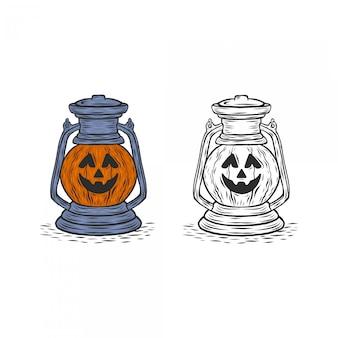 Dessin de main de lampe de citrouille d'halloween gravé