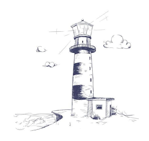 Dessin à main levée de beau paysage de bord de mer avec phare debout sur la falaise rocheuse