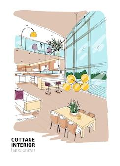 Dessin à main levée coloré d'une maison de campagne moderne ou d'un intérieur de chalet d'été plein de meubles élégants.