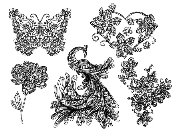 Dessin à main levée et croquis papillon et fleur de nature noir et blanc