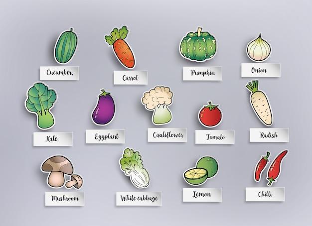 Dessin à main levée de légumes.