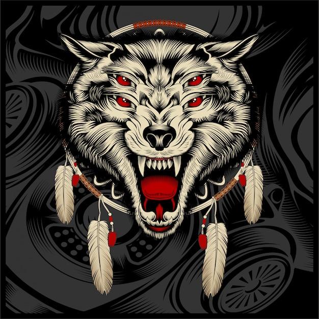 Dessin à la main de loup