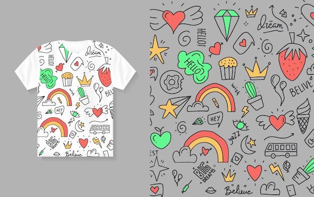 Dessin à la main mignon doodle coloré. conception de t-shirt
