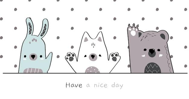 Dessin à la main mignon famille d'animaux sauvages doodle de dessin animé