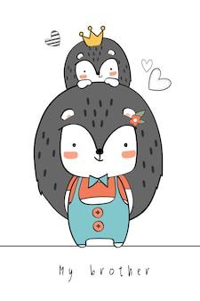 Dessin à la main mignon famille porc-épic doodle de bande dessinée de voeux