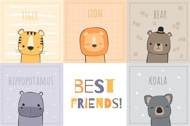 Dessin à la main mignon tigre lion ours hippopotame koala meilleurs amis dessin animé doodle