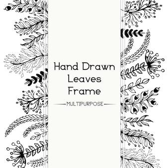Dessin à la main en noir et blanc cadre floral