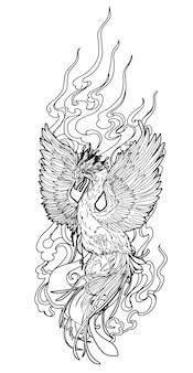 Dessin à la main oiseau art tatouage et croquis en noir et blanc sur blanc