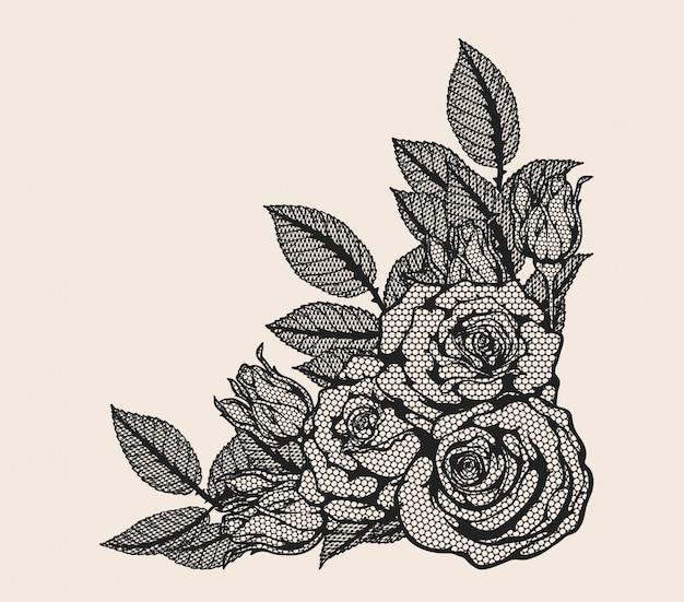 Dessin à la main d'ornement dentelle rose vector
