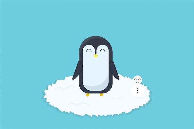 Dessin à la main des pingouins et de la neige