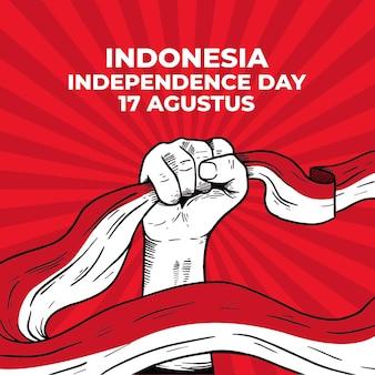 Dessin de main de poing de jour de l'indépendance de l'indonésie