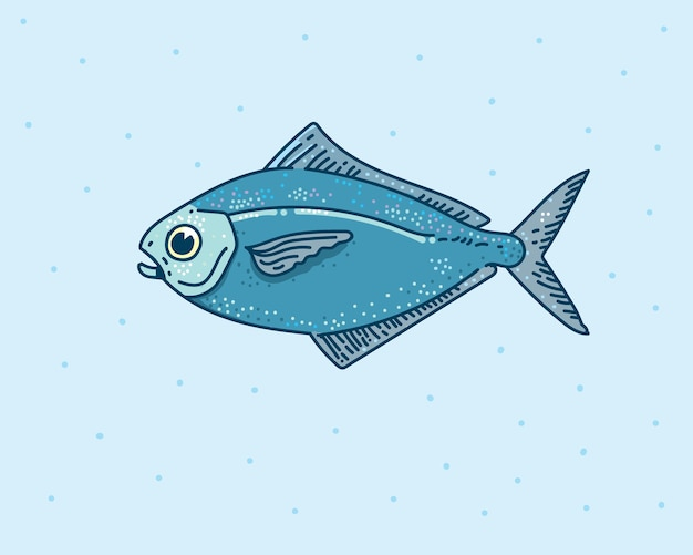 Dessin à la main de poisson. illustration de poisson mignon.