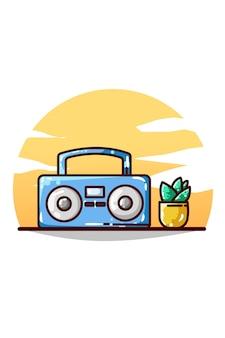 Dessin à la main de la radio et des plantes ornementales