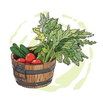 Dessin à la main d'un seau en bois rempli de légumes