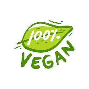 Dessin à la main signe 100 pour cent végétalien
