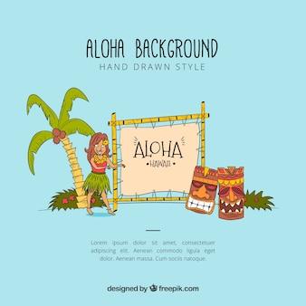 Dessin à la main style aloha arrière-plan