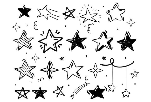 Dessin à la main de style doodle. étoiles de formes différentes. illustration vectorielle isolée.