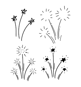 Dessin à la main de style doodle. salut, feu d'artifice. illustration vectorielle isolée.
