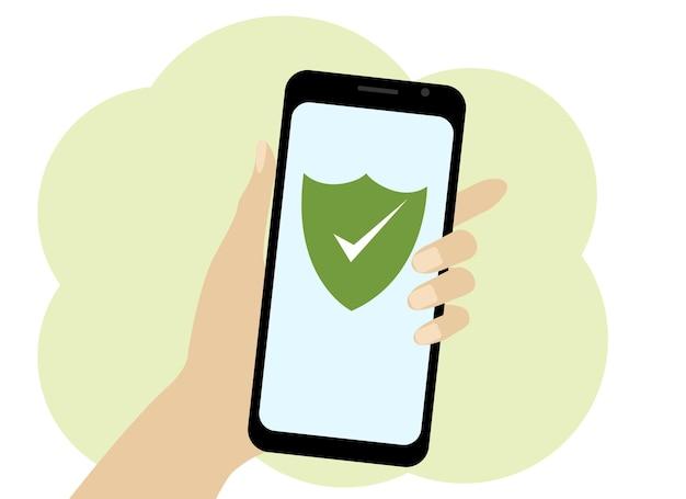 Dessin d'une main avec un téléphone mobile vectoriel. logiciel antivirus dans le téléphone